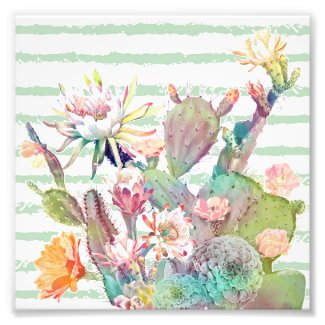 Watercolor cactus, floral and stripes design photo print