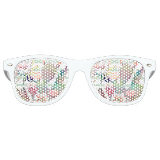 Watercolor cactus, floral and stripes design retro sunglasses