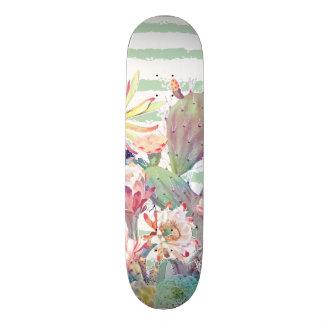 Watercolor cactus, floral and stripes design skateboard deck