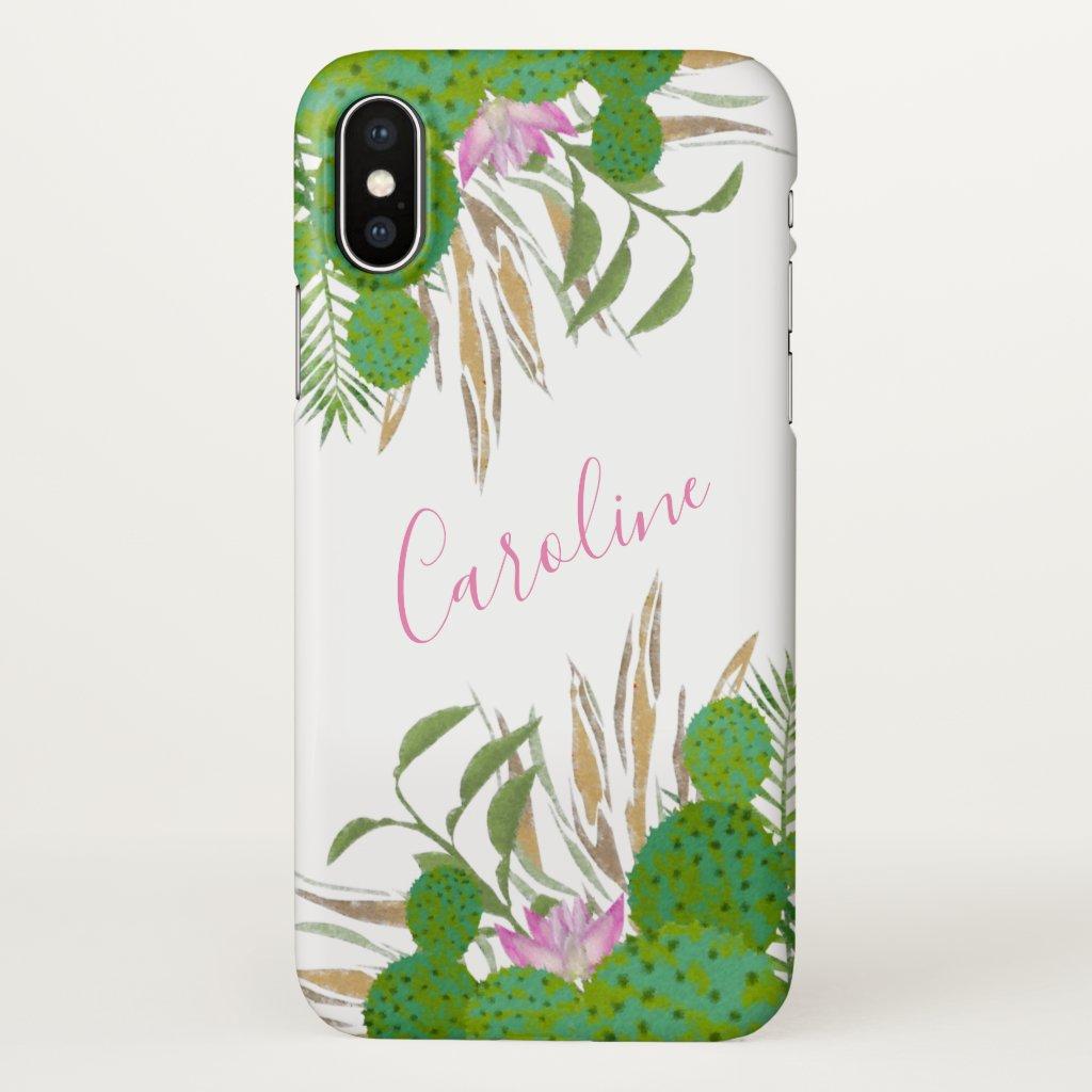 Watercolor Cactus Florals iPhone X Case