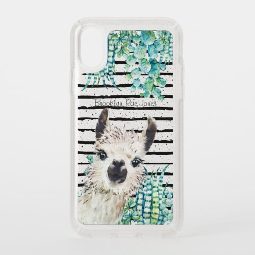 Watercolor Cactus Llama & Stripes Girly Glitter Phone Case