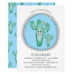 Watercolor Cactus Momma and Baby Shower Invitation
