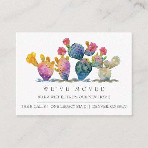 Watercolor Cactus New Home Moving Announcement