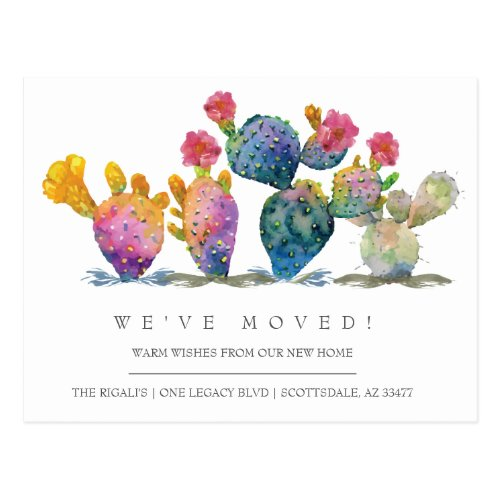 Watercolor Cactus New Home Moving Announcement Postcard