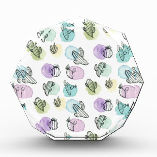 watercolor cactus pattern acrylic award