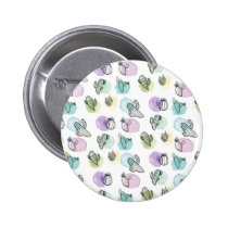 watercolor cactus pattern button