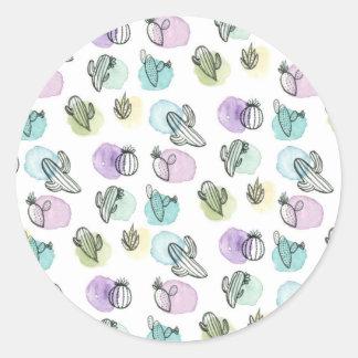 watercolor cactus pattern classic round sticker