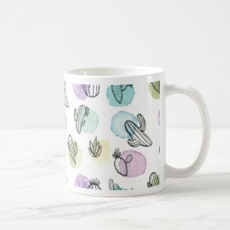 watercolor cactus pattern coffee mug
