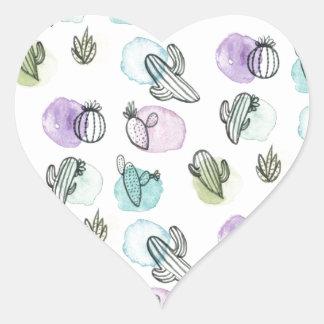 watercolor cactus pattern heart sticker