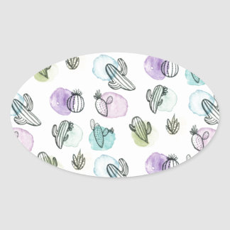 watercolor cactus pattern oval sticker