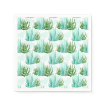 Watercolor cactus pattern party napkins