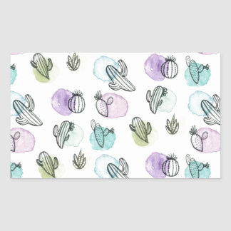 watercolor cactus pattern rectangular sticker