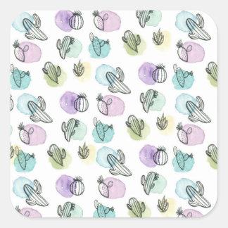 watercolor cactus pattern square sticker