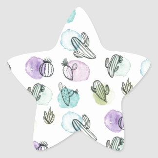 watercolor cactus pattern star sticker