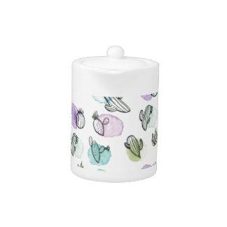 watercolor cactus pattern teapot