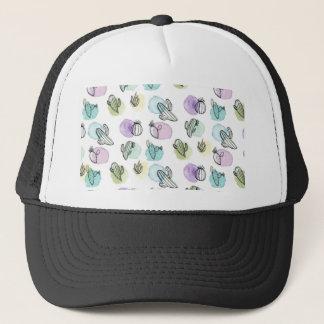 watercolor cactus pattern trucker hat
