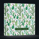 """Watercolor Cactus Plants Pattern 3 Ring Binder<br><div class=""""desc"""">Hand painted watercolor cactus plants and purple flowers.&#160; 