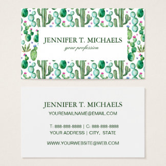 Watercolor Cactus Plants Pattern Business Card