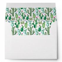 Watercolor Cactus Plants Pattern Envelope