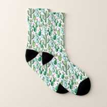 Watercolor Cactus Plants Pattern Socks