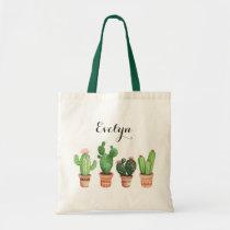Watercolor Cactus Pot Blush Floral Tote Bag