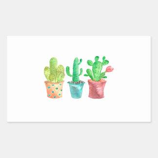 Watercolor Cactus Rectangular Sticker
