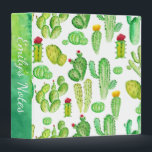 """Watercolor Cactus Succulent Pattern School 3 Ring Binder<br><div class=""""desc"""">A cute and trendy personalized school binder with a green watercolor cactus and succulent pattern. Customize the spine with your name and/or text for an easy way to keep class notes organized.</div>"""