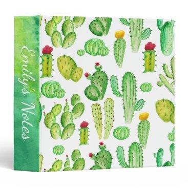 Beach Themed Watercolor Cactus Succulent Pattern School 3 Ring Binder