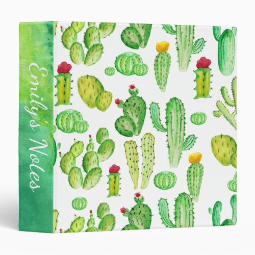 Watercolor Cactus Succulent Pattern School 3 Ring Binder