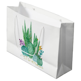 Watercolor , cactus , succulents large gift bag