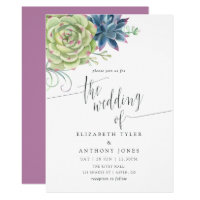 Watercolor Cactus Succulents Wedding Invitation