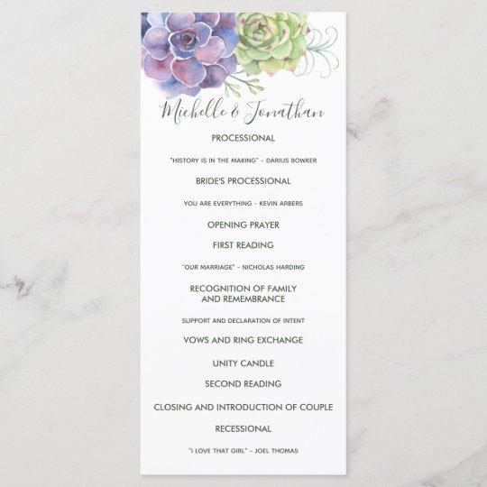 watercolor cactus succulents wedding program zazzle com