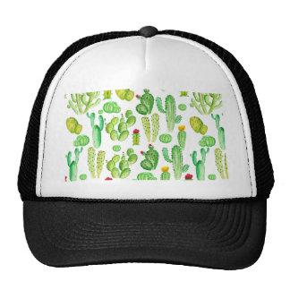 watercolor cactus trucker hat