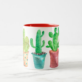 Watercolor Cactus Two-Tone Coffee Mug