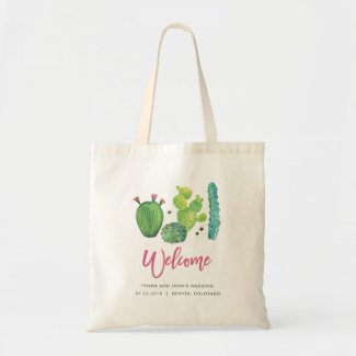 Watercolor Cactus Wedding Bag