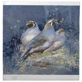 Watercolor California Quail Bird in Blue Napkin