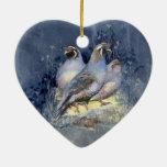 Watercolor California Quail Bird in Blue Christmas Tree Ornaments