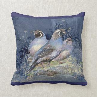 Watercolor California Quail Bird in Blues Pillow