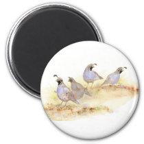 Watercolor California Quail, Bird, Nature,Animal Magnet