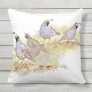 Watercolor California Quail Bird Wildlife Art Throw Pillow