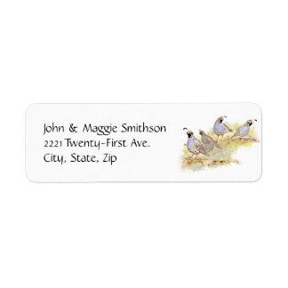 Watercolor California Quail State Bird Nature art Label