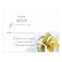 watercolor calla lilies Floral wedding RSVP Postcard