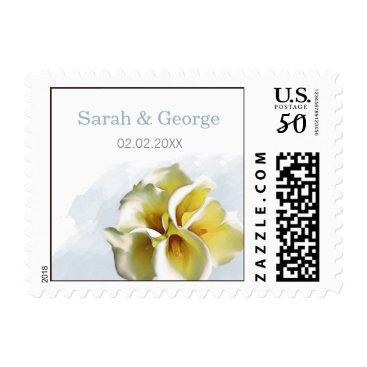 watercolor calla lilies floral wedding stamps