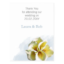 watercolor calla lilies Floral Wedding Thank You Postcard