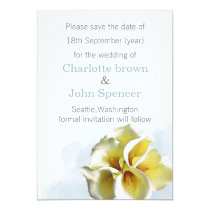 watercolor calla lilies save the date announcement