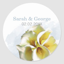 watercolor calla lilies Wedding favors stickers
