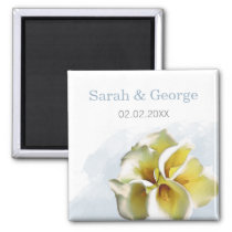 watercolor calla lilies Wedding save date magnets