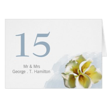 watercolor calla lilies Wedding table seating card