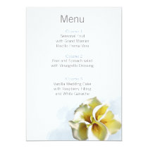 watercolor calla liliesFloral wedding menu cards
