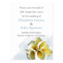 watercolor callalilies Wedding save the dates Postcard